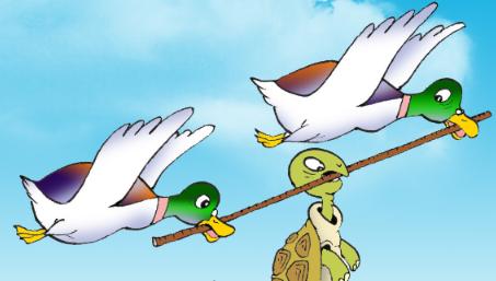 قصة السلحفاة و البطتان